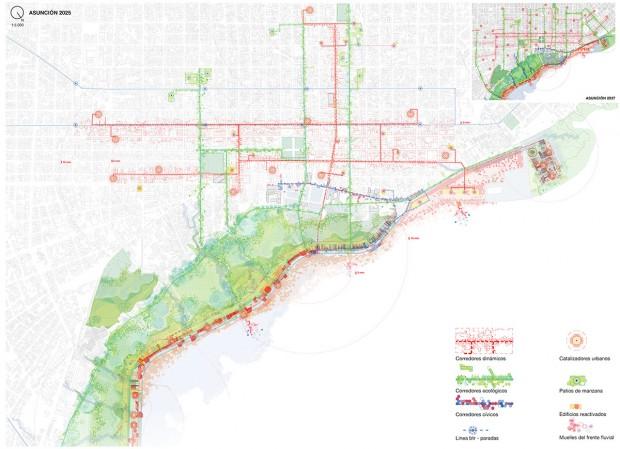Plano general de la propuesta, mostrando la distribución de los corredores dinámicos, ecológicos y cívicos, así como los edificios catalizadores, los muelles fluviales y las principales paradas de transporte público.