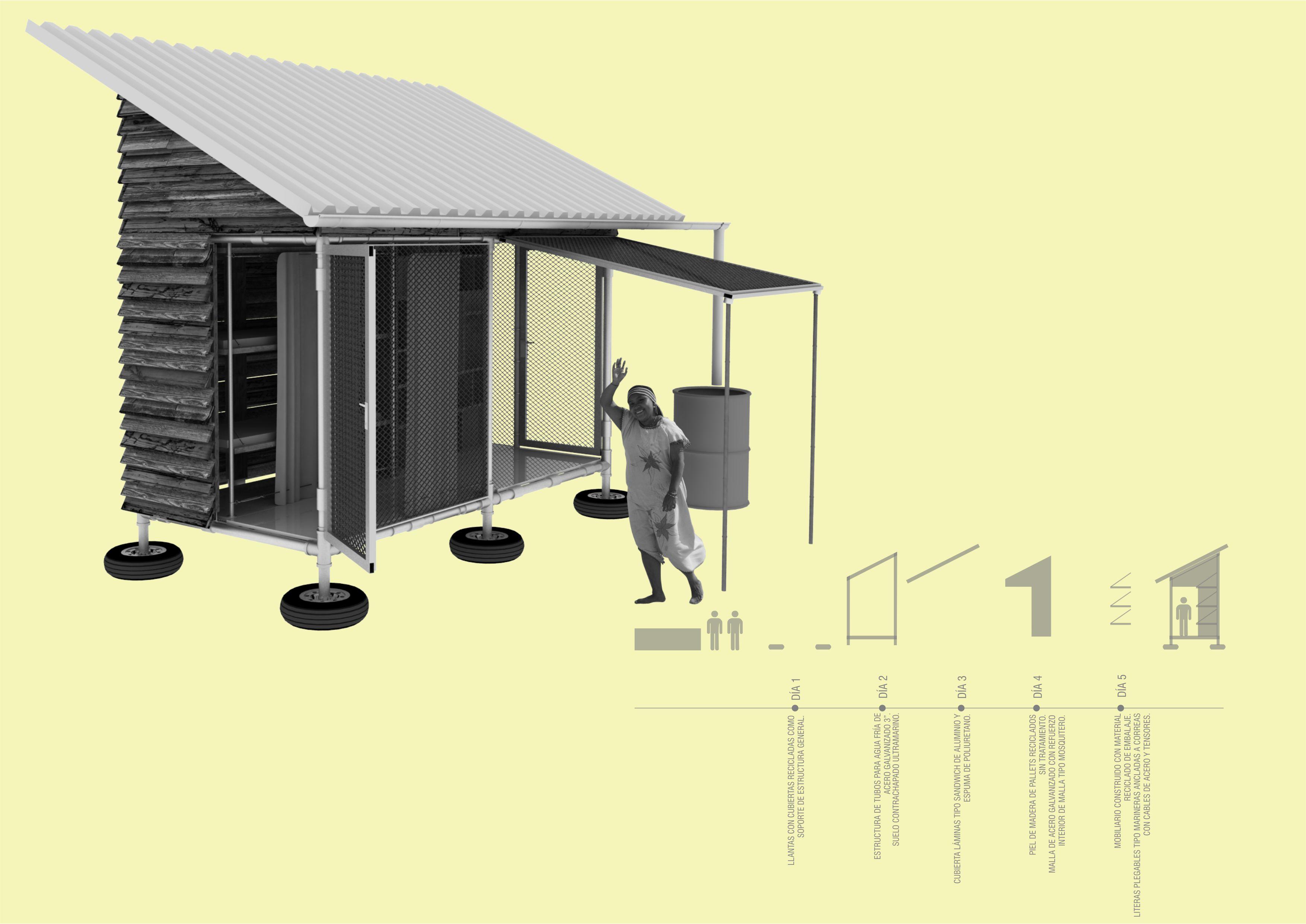 H bitat mim tico vivienda de emergencia ecosistema urbano for Espacios minimos arquitectura