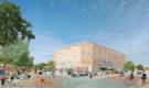 Recreación del edificio y los espacios circundantes desde el exterior. Banco de Ideas de Hermosillo, Sonora, Mexico.
