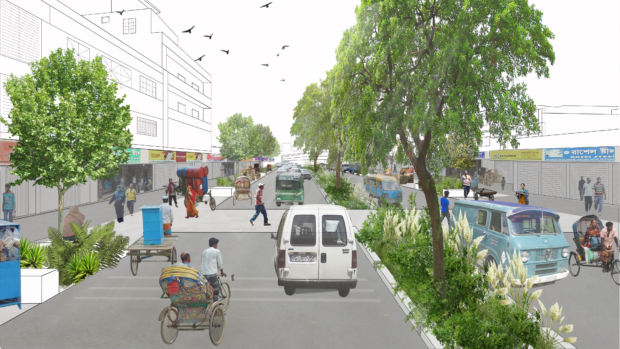 """View of a wide road with a """"curbless"""" design, distinct pedestrian pavements, protective urban furniture and vegetation. Dhaka, Bangladesh. Ecosistema Urbano."""