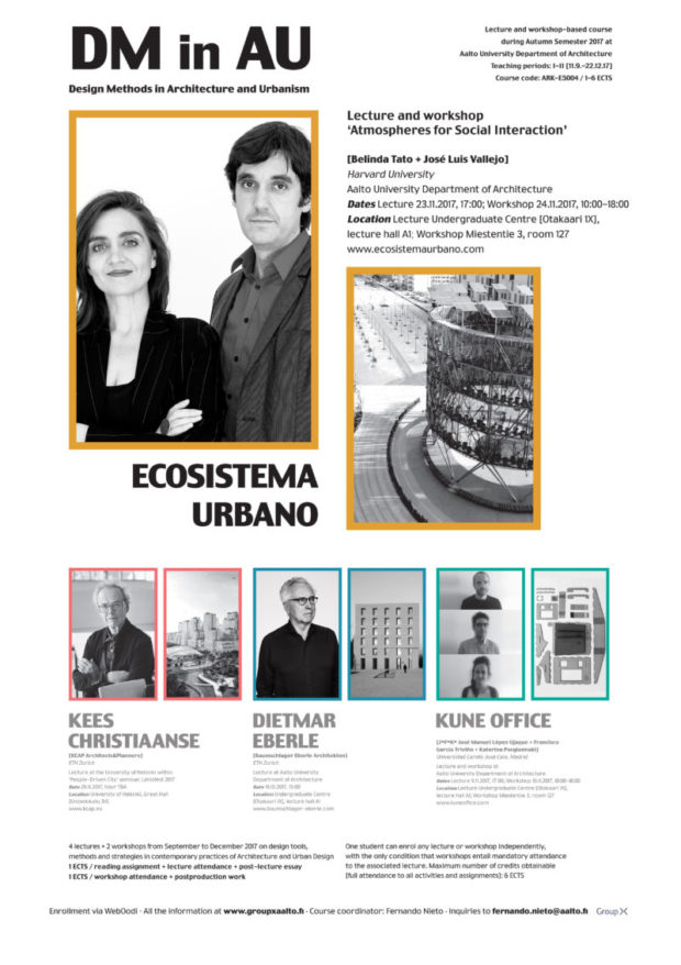 Lecture and workshop by Ecosistema Urbano at the Aalto University Department of Architecture