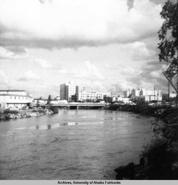 Fairbanks view of Chena River and Polaris Apartment Hotel, 1968