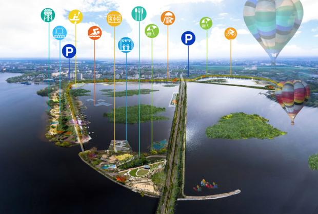 """Vista aérea de la """"Isla del Ocio"""", una de las propuestas para Voronezh"""