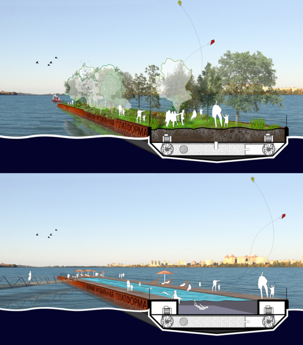 Floating mobile cleaning infrastructures