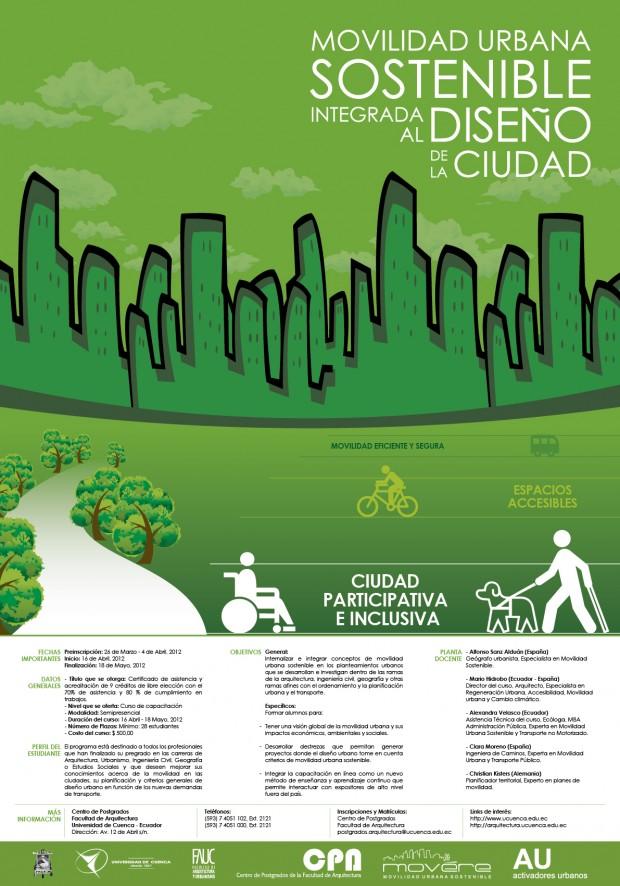 Cartel del curso de Movilidad Urbana Sostenible en Cuenca, Ecuador