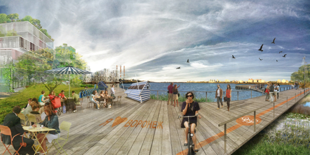 New development of a mixed-use zones at the lakefront
