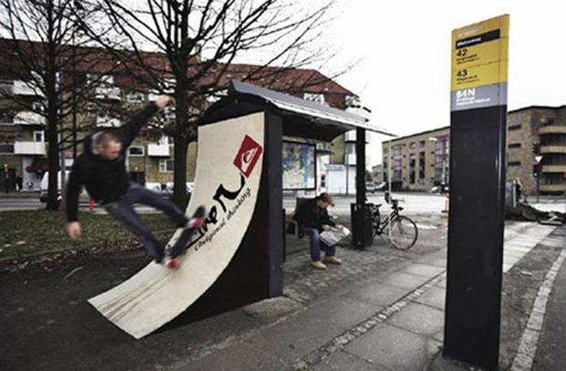 """Quicksilver bus stop by """"Saatchi-Saatchi"""", Copenhagen"""