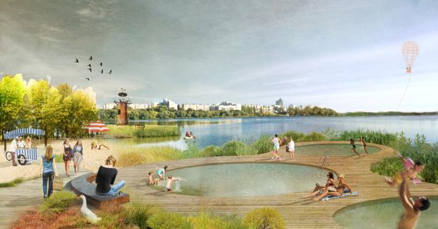 Piscinas frente al parque fluvial