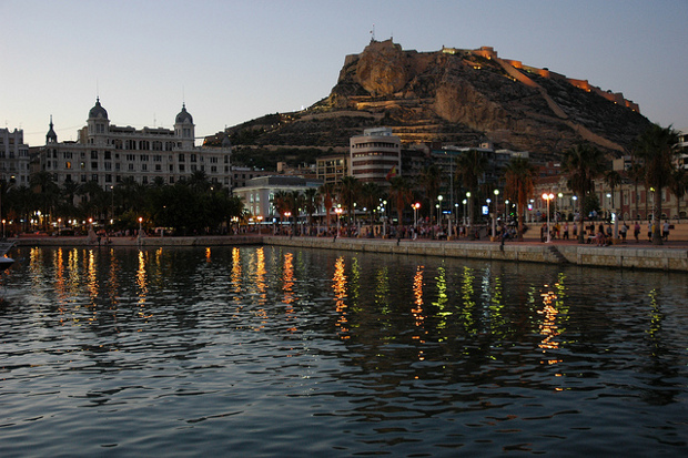 Lively Alicante at dusk