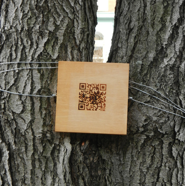 QR en árbol - imagen por William Angel en Flickr