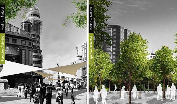 Dos de las acciones del Madrid + Natural: Sombreado estacional (Plaza de Callao) y Bosques Urbanos (Calle Santa Adela). Fuente: ARUP