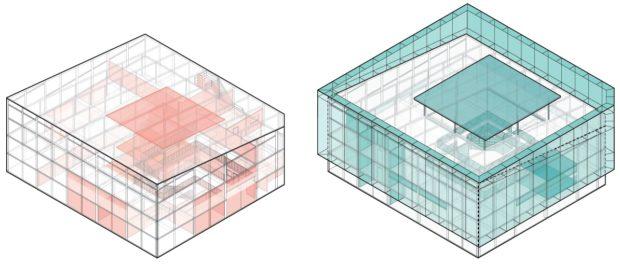 Axonometrías de conjunto mostrando elementos a demoler (rojo) y a añadir (verde) al Banco de Ideas. Hermosillo, Sonora, México.