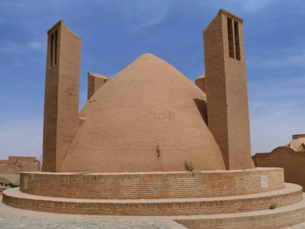 Water deposit cooled with badgirs in the Yazd desert, in Iran