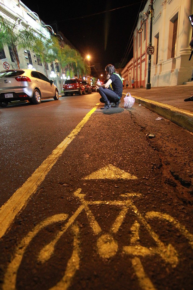 A do-it-yourself bike lane in Asunción, Paraguay