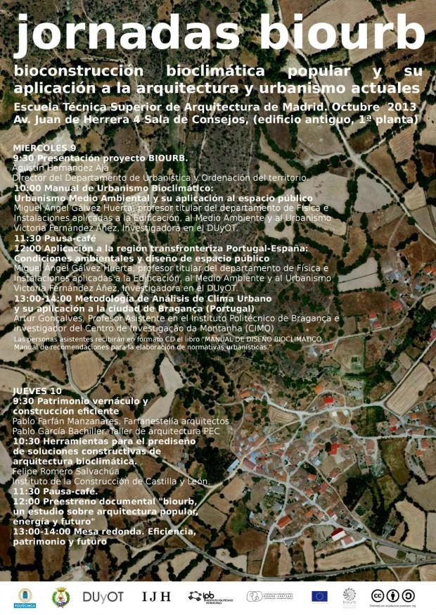 Cartel y programa de las jornadas Biourb en la ETSAM