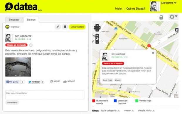 "Screenshot of a ""dateo"""