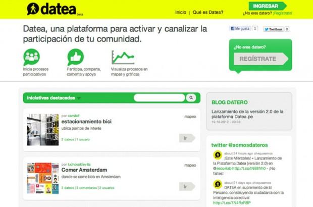 Screenshot of the homepage, datea.pe