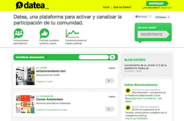 Screenshot of the homepage, datea.pe