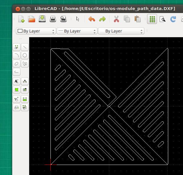 Archivo de CAD abierto desde Linux con LibreCAD.