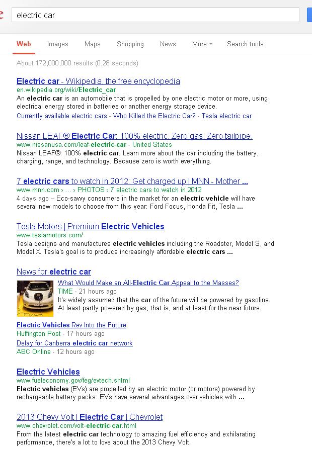 "Búsqueda ""electric car"" en Google - captura de pantalla - clic para ver la búsqueda"