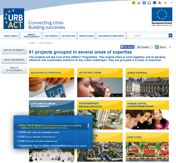Viendo los proyectos de URBACT - clic para ir a la página