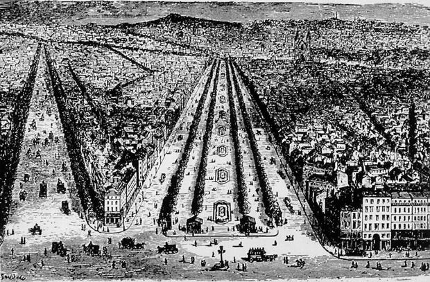 Vista aérea de la Avenida Richard Lenoir, típico de las avenidas cortadas por Haussmann en París