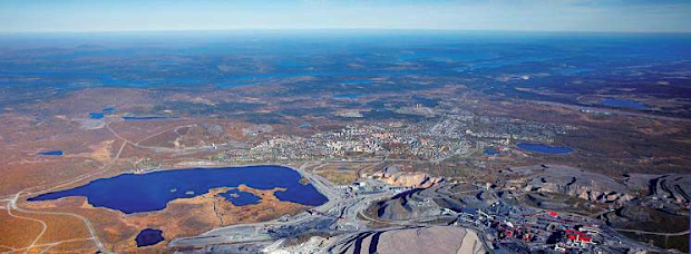 Kiruna Center from the southwest, with the LKAB facilities in the foreground