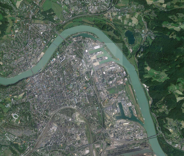 Linz and the harbour area of the intervention - Google Maps