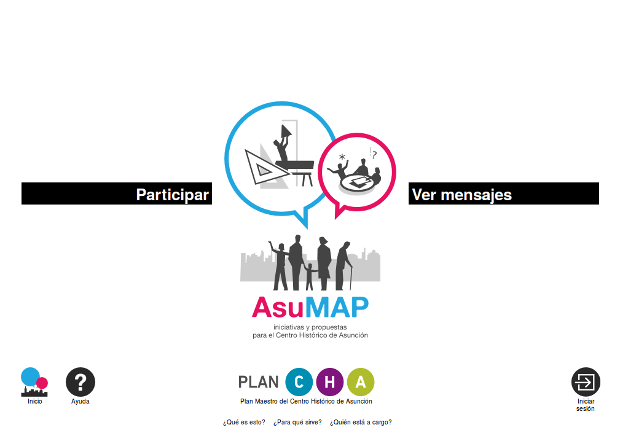 Página principal de la aplicación usada en Asunción