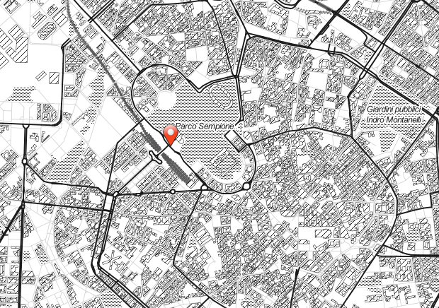 Location map of the Garden pavillion at the Milano Arch Week 2018