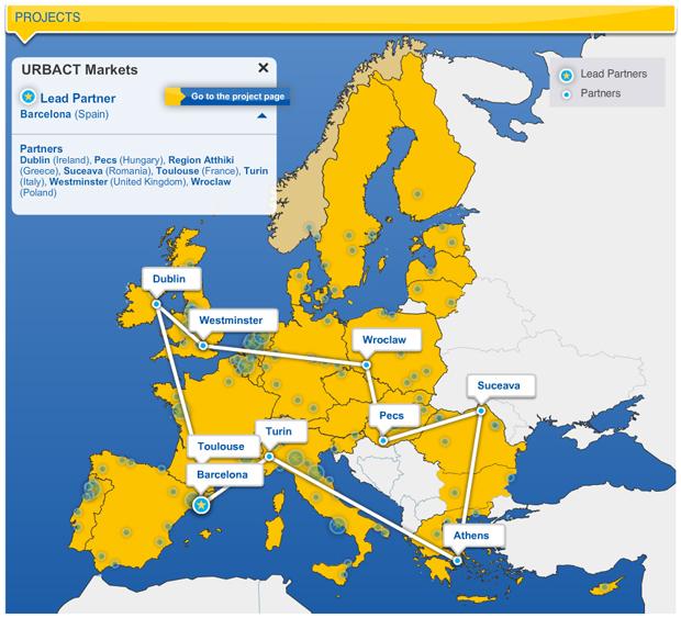 Urbact Markets Map - clic para ver la mapa interactiva de los proyectos de Urbact