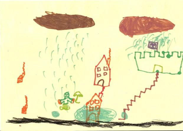 Dibujo con los recuerdos del barrio