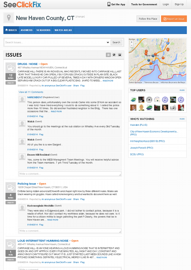 SeeClickFix - Issues in a neighborhood