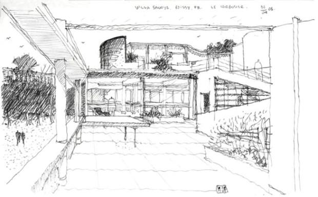 Boceto para Villa Saboya - Le Corbusier