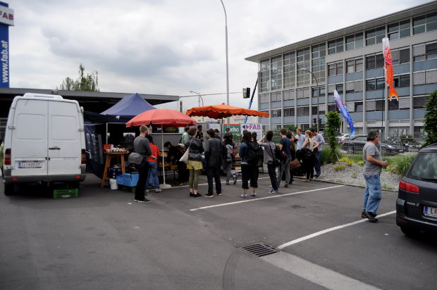 Traditional food stall between the office buildings