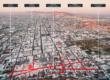 Vista general de la ubicación del Banco de Ideas y de su entorno, desde el Cerro de la Campana. Centro histórico de Hermosillo, Mexico.