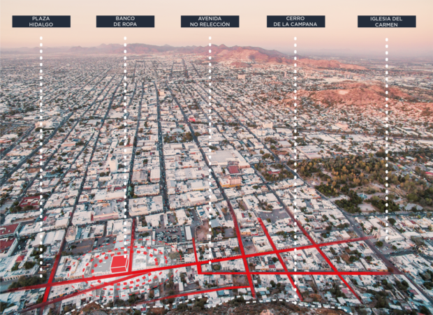 General view of the location of the Banco de Ideas and its surroundings, as seen from Cerro de la Campana. Historic Center of Hermosillo, Mexico. Ecosistema Urbano.