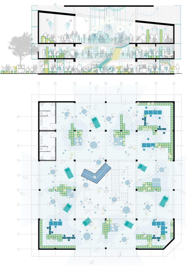 Planta y sección de la propuesta para el Banco de Ideas - Hermosillo, Sonora, México - Ecosistema Urbano