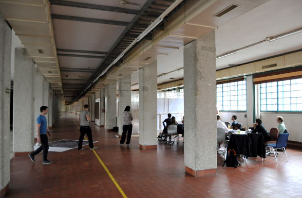Working inside the Tabakfabrik, an amazing industrial building from the early XX century